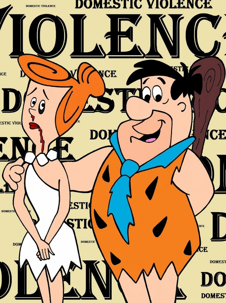 Barney Rubble and Wilma Flintstone Art Portrait Social Campaign Domestic Woman Women's Violence Abuse Satire Cartoon Illustration Critic Humor Chic by aleXsandro Palombo 1