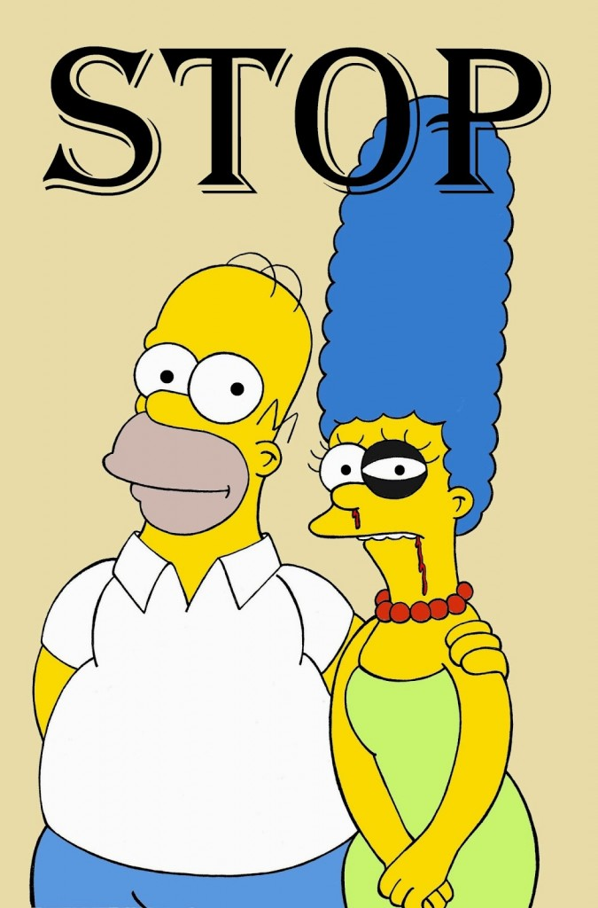 Homer and Marge Simpson The Simpsons Art Portrait Social Campaign Domestic Woman Women's Violence Stop Abuse Satire Sketch Cartoon Illustration Critic Humor Chic by aleXsandro Palombo