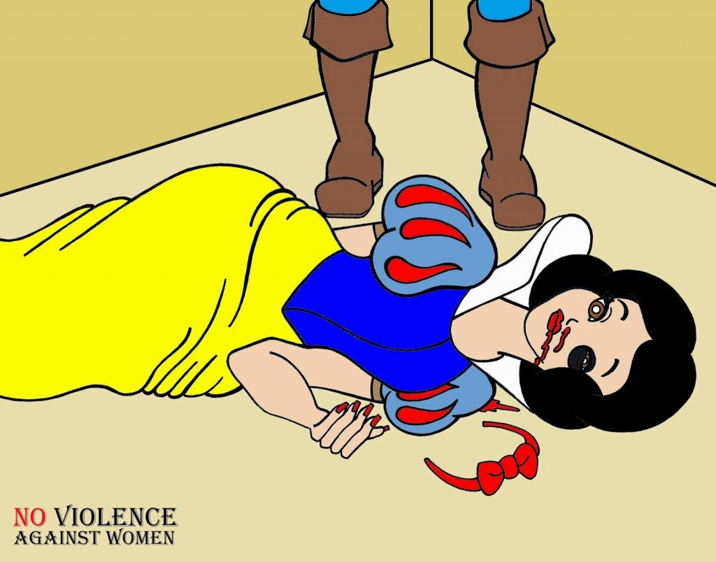 Snow White and Prince Charming Art Portrait Social Campaign Domestic Woman Women's Violence Abuse Satire Cartoon Illustration Critic Humor Chic by aleXsandro Palombo