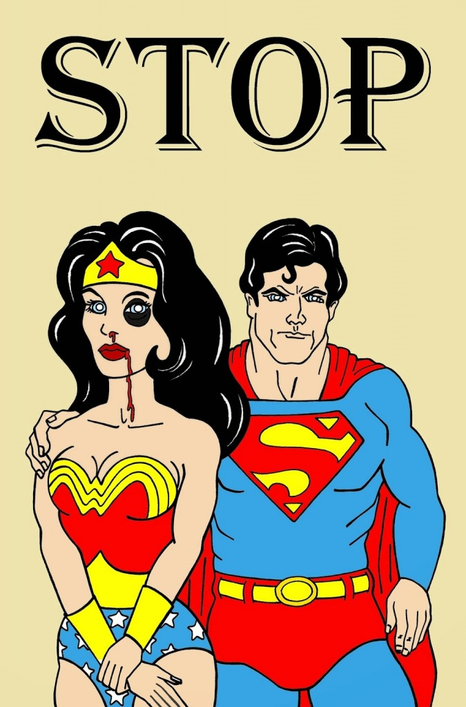 Wonder Woman and Superman Art Portrait Social Campaign Domestic Woman Women's Violence Abuse Stop Satire Sketch Cartoon Illustration Critic Humor Chic by aleXsandro Palombo