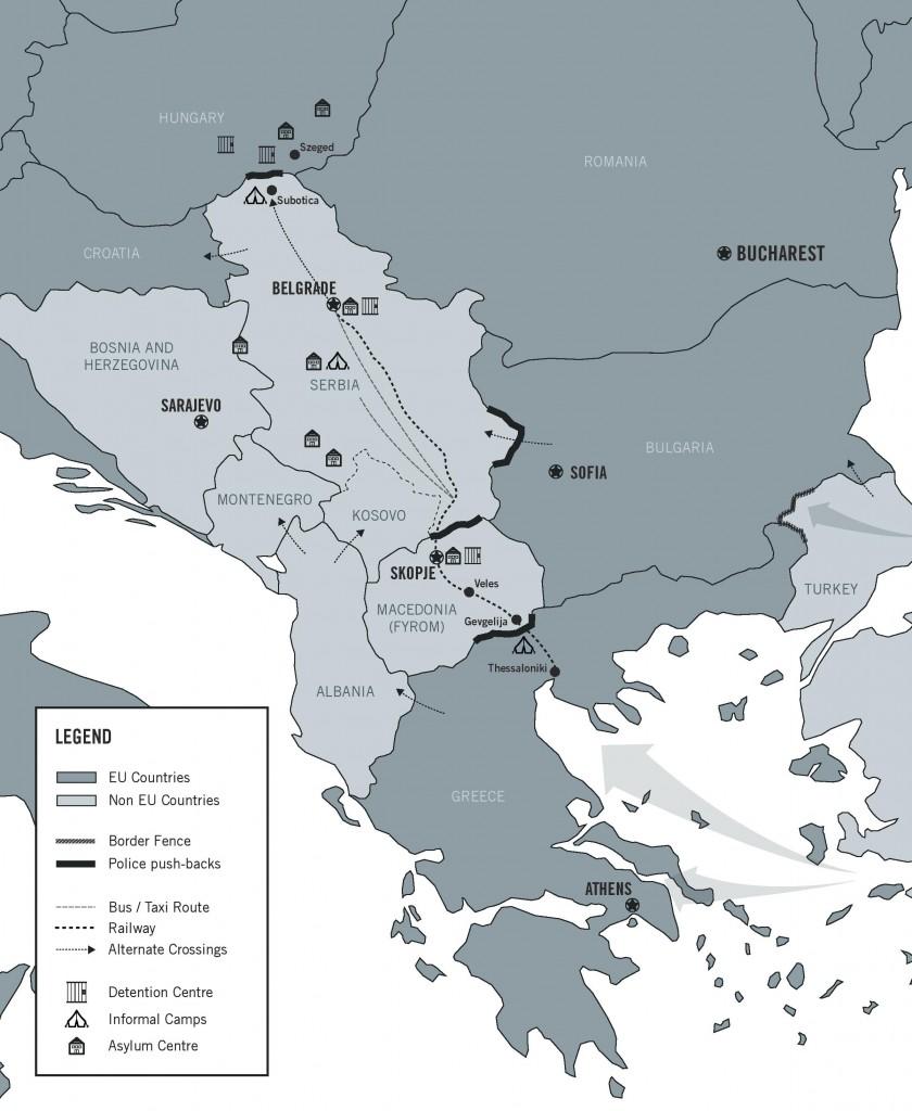 Χάρτης της Βαλκανικής διαδρομής