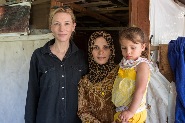 Cate Blanchett (UNHCR High Profile Supporter) with Walaa and her daughter Fatme (3). Walaa lives with her family at the Aalman Informal Settlement, Chouf. Her family is one of 18 refugee families from Idleb, Syria.