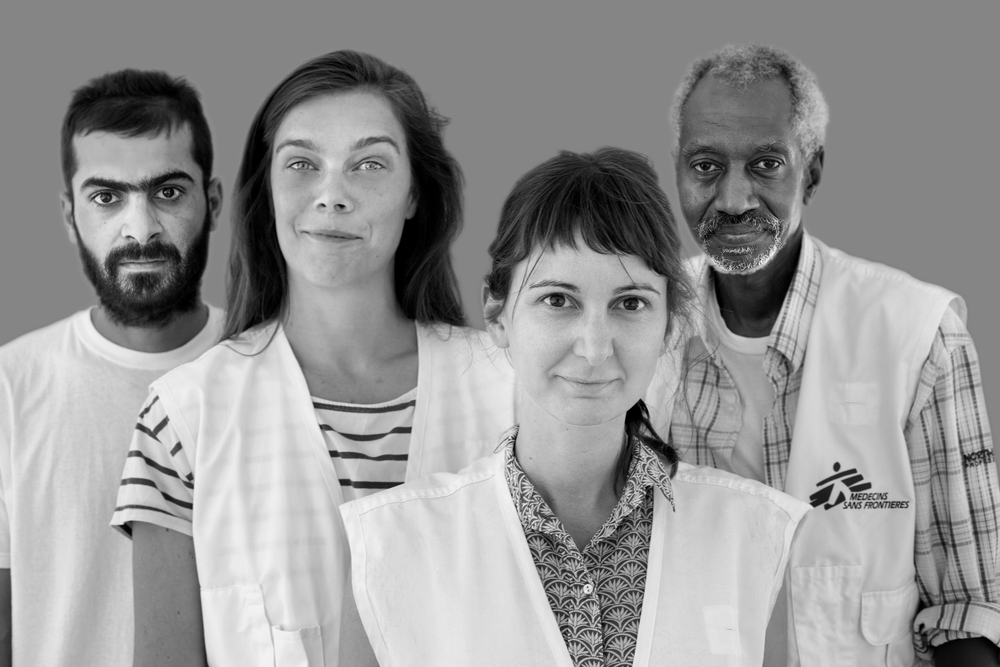 Ari, Kurdish interpreter, Mélanie Kerloch,mental health activity manager. Dimitra, psychologist, Amin, Arabic interpreter