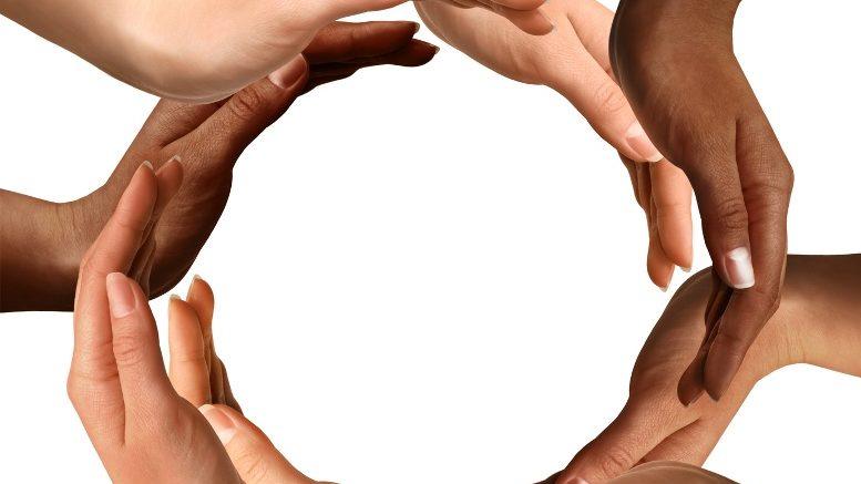 Multiracial Hands Making a Circle