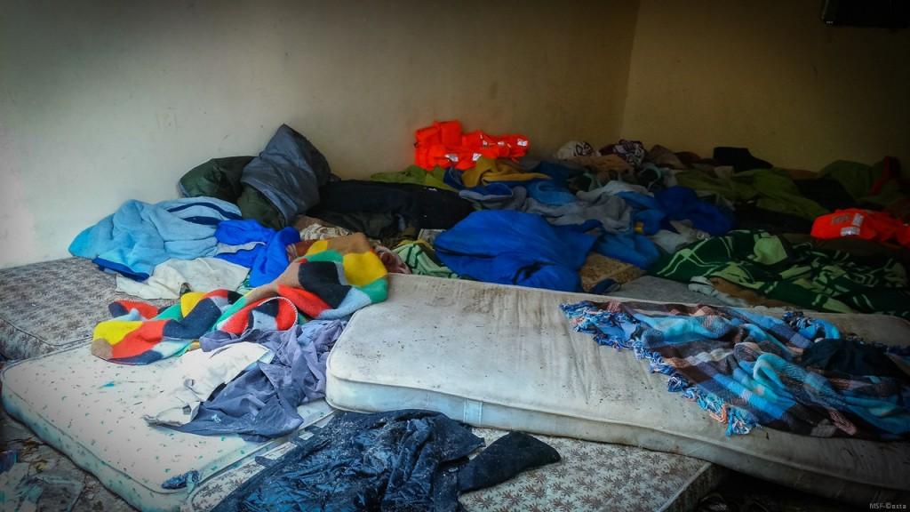 Garage shelter for refugees in Leros island,Greece. Coast Guard station yard