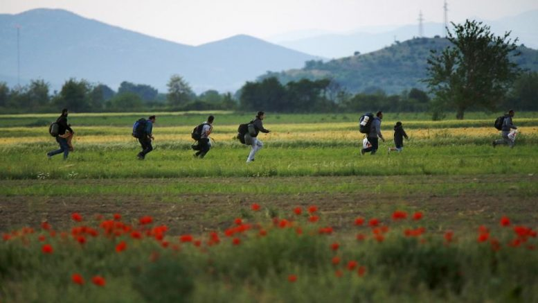 A group of Syrian immigrants run on a field towards Greece's border with Macedonia in Kilkis prefecture, May 14, 2015. REUTERS/Yannis Behrakis