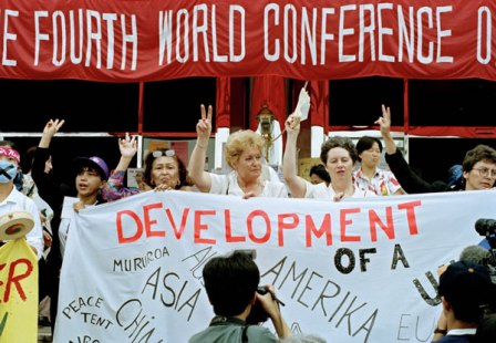 Fourth World Conference on Women Opens in Beijing Participants at the Non-Governmental Organizations Forum meeting held in Huairou, China, as part of the United Nations Fourth World Conference on Women held in Beijing, China on 4-15 september 1995. 03 September 1995 Huairou, China Photo # 66749 UN Photo/Milton Grant