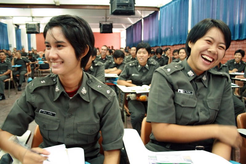 Police cadet training on violence against women in Thailand Thai police cadets embarked the first-ever training on ending violence against women and girls to increase their knowledge on the nature, extent, and seriousness on crimes perpetrated against women and show commitment as change agent towards ending the global pandemic. Photo: UN Women/Montira Narkvichien