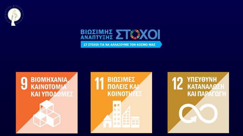 Στόχοι Βιώσιμης Ανάπτυξης Βιομηχανία, Καινοτομία και Υποδομές - Βιώσιμες Πόλεις και Κοινότητες - Υπεύθυνη Κατανάλωση και Παραγωγή