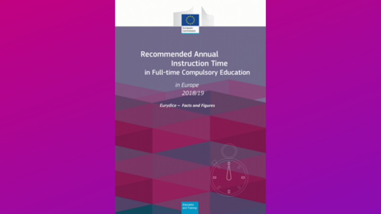 "Νέα Έκδοση του Δικτύου ΕΥΡΥΔΙΚΗ ""Recommended Annual instruction Time in Full Compulsory Education in Europe 2018-2019"""
