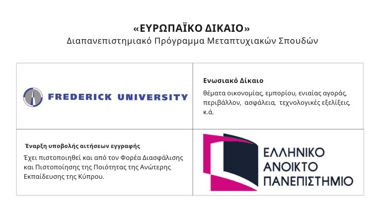 Διαπανεπιστημιακό ΠΜΣ«Ευρωπαϊκό Δίκαιο»